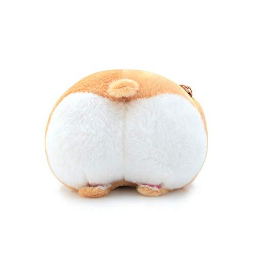 N / A Lindo Perro Mascota Culo Mochila de Felpa con Forma de Burro Monedero Animal Mochila de Felpa Creativo Corgi Messenger Bag Bolso de niña 13X11cm