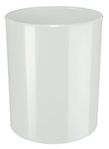 HAN 1814-F-11, corbeille à papier anti-feu ignifuge, difficilement inflammable, sûre, élégante, qualité premium, 13 litres, gris clair