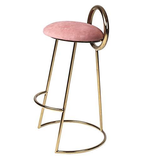 Nordic moderne stijl kruk vrije tijd bar stoel barkruk PP zitkussen/massief houten stoelpoten/ijspedaal een verscheidenheid aan kleuren om uit te kiezen roze-2