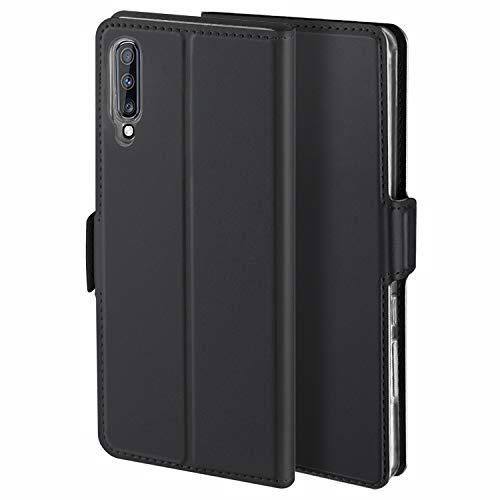 HoneyHülle für Handyhülle Samsung Galaxy A7 2018 Hülle Premium Leder Flip Schutzhülle für Samsung Galaxy A7 2018 Tasche, Schwarz