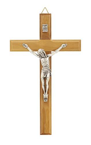Ferrari & Arrighetti Crocifisso da Parete in Legno ulivo con Cristo in Metallo ossidato - 17 cm