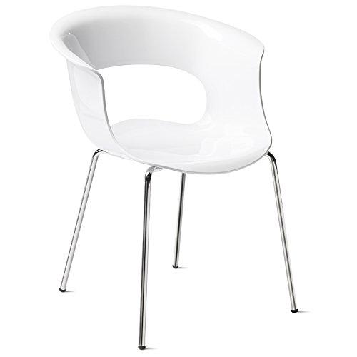Scab Design Designer Stuhl mit Chrombeinen Miss B Antishock 4 Legs weiß