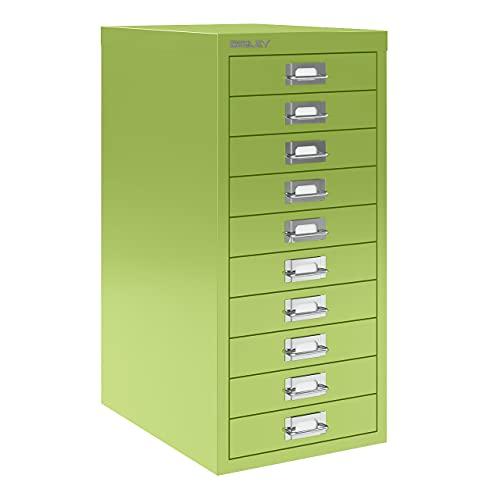 Bisley 10 Drawer Steel Under-Desk Multidrawer Storage Cabinet Green MD10-GR
