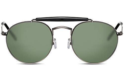 Cheapass Gafas de Sol Sin Montura Pequeñas Redondas Gafas Piloto con Puente Diseñador Montura Níquel y Cristales Verdes Hombre Mujer Protección UV400