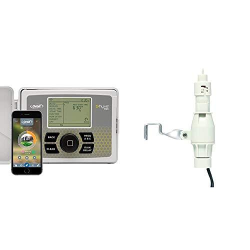 Orbit B-hyve 12-Zone Smart Indoor/Outdoor Sprinkler Controller & 57069 Sprinkler System Hard Wired Rain and Freeze Sensor