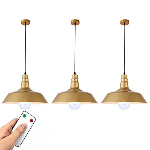 Luz colgante de granero industrial, luz de techo con batería de 3 paquetes, bombillas de luz recargables con alojamiento remoto, iluminación colgante de oro para la isla de la cocina, no encavado las