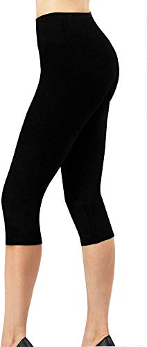 4How Sport Leggings Damen 3/4 Capri Leggins Baumwollleggings Sporthose Laufhose blickdicht Yoga Pants Tights Strumpfhosen Damen Basic Leggins Schwarz XL