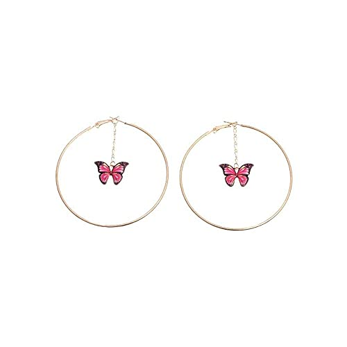 junmo shop Pendientes colgantes para mujer, elegantes colgantes con cadena de mariposa, aretes de aro grandes, joyería de moda para citas, fiestas, playa, regalos de cumpleaños de San Valentín