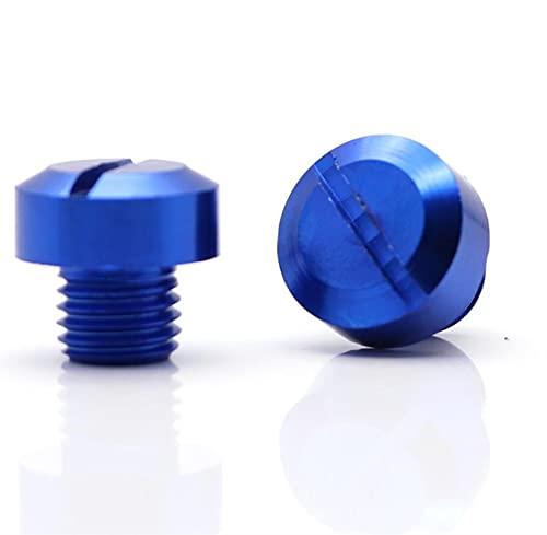 2 unids Universal Motorcycle CNC M10 * 1.25 Tornillo de tornillo de tapón de agujero de espejo Cubre tapas en el sentido de las agujas del reloj para ajuste para suzuki (Color : Blue)
