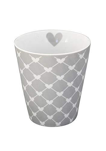 Krasilnikoff NEU Becher Tasse Happy Mug Farben Sterne Spruch Happy Star - viele Farben und Muster (HM207 Diagonal Hearts Grey)