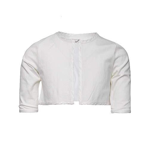 Lofff Mädchen Strickjacke Cardigan Bolero Jacke cremeweiß weiß (152)