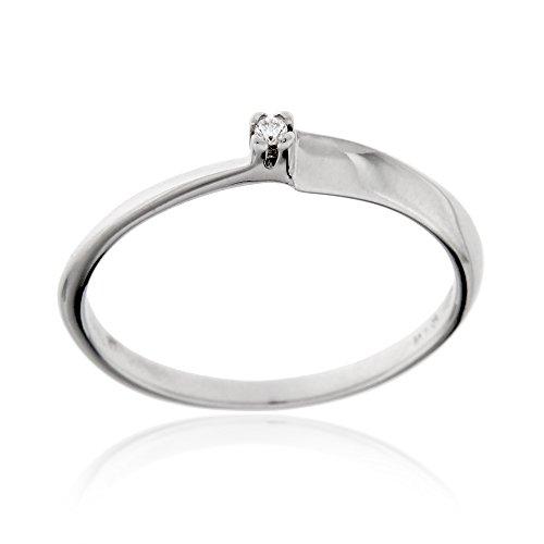 Gioiello Italiano – Anillo solitario en oro blanco 18kt con diamante 0.015ct