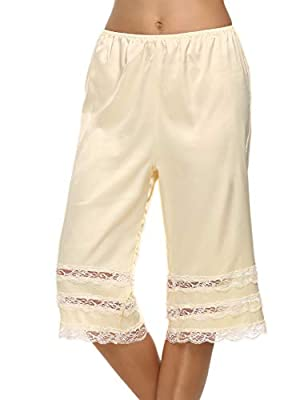 Avidlove Women Satin Pettipants Knee Length Pantaloons Bloomers with Lace Edge,Beige,Large by