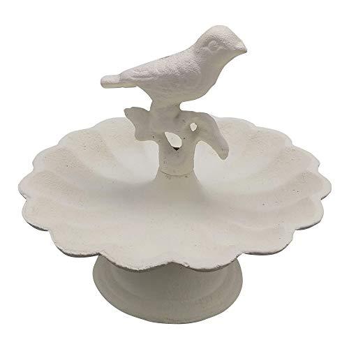 Comfy Hour Solid Pedestal Bird Bath/Feeder with Decorative Bird, Metal, Heavy Duty, White, Recycled, Decorative Gift Idea