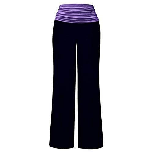 WGNNAA Damen Sommerhose Leichte Yogahose Bequeme Pyjamahose Lange Hose mit weitem Bein Lässige Hose Stretch mit hoher Taille Punkte Streifen Farblock S-2XL
