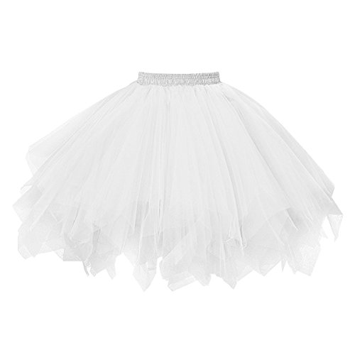 Topdress Women s 1950s Vintage Tutu Petticoat Ballet Bubble Skirt (26 Colors) White XXL