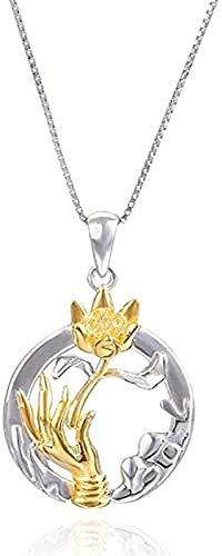 ZGYFJCH Co.,ltd Collar de Moda de Plata Estilo Nacional Collar de Buda Colgante de Oro bergamota Colgante de Loto Budista fe Collar de Plata Femenino