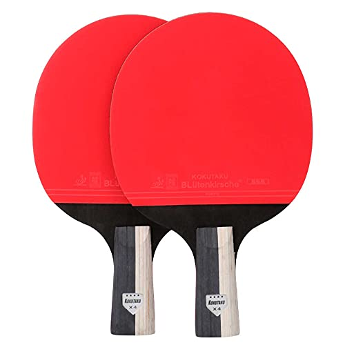 HXFENA Raqueta de Tenis de Mesa,4 Estrellas Entrenamiento Profesional Palas de Ping Pong Mango Antideslizante Ofensivo Fuerte,para Juegos en Interiores Y Exteriores/A/Mango cor
