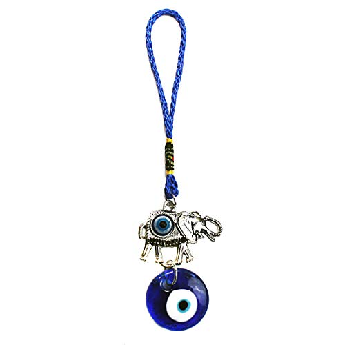 """LUCKBOOSTIUM - Silver Ornate Elephant Hanging Charm with inlayed Blue Evil Eye and Large Dangling Evil Eye Bead, Symbol of Good Fortune for Car, Home and Office, Great Gift, Blue, Silver, 2"""" x 7.5"""""""