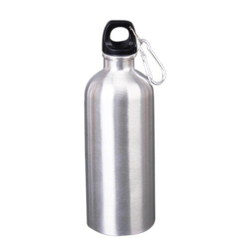 Nalmatoionme Sports Bouteille d'eau en acier inoxydable avec crochet d'escalade 600 ml (Argent)