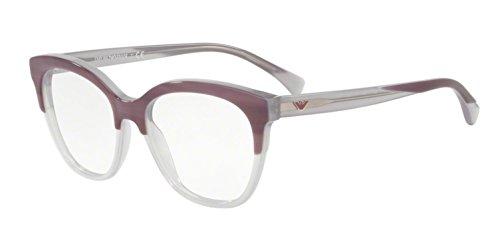 Emporio Armani 0EA3136 Monturas de gafas, Striped Violet On Opal Violet, 51 para Mujer