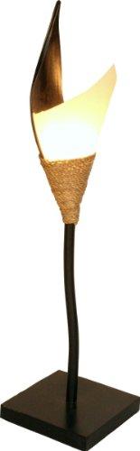Guru-Shop Palmenblatt Stehlampe/Stehleuchte, in Bali Handgemacht aus Naturmaterial, Palmholz - Modell Samira, Größe: Mittel, 96x20x20 cm, Stehleuchten aus Naturmaterialien