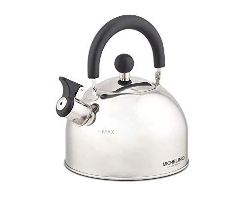 Edelstahl Flötenkessel Teekessel 1,5 und 2 Liter Induktion geeignet von Wasserkessel mit Pfeife (2,0 Liter)