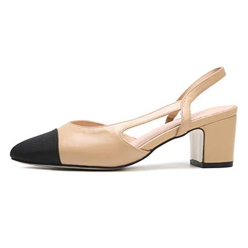 Sandalen High Heels Viereckiger Kopf Für Damen Mit Einzelnen Schuhen Zweifarbige Damenschuhe Pumps Mittlerer Ferse Für Damen Elegant (Color : Apricot, Size : 38/US7.5)