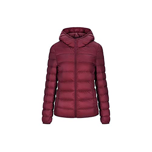 Women Down Jacket Hooded 95% Duck Warm Overcoat Solid Portable Outerwear Large Size Ultra Light Down Coat,Wine Red,4XL