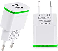 European Plug Adapter, USINFLY 2.0A/5V Europe Travel Power Adapter Dual USB Wall Charger Converter for iPhone X/8/7/6 Plus, Samsung, HTC, Moto, LG, More Android Cell Phone (2-Pack)