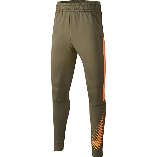 Nike Jungen Therma GFX Tapered Pantalon Hose, Grün (Medium Olive/Total Orange/Tota), (Herstellergröße: Small)