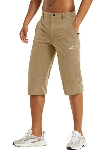 LASIUMIAT Mens Khaki Shorts Elastic Waist 3/4 Capri Pants for Men Work Shorts for Men with Pockets for Men Bike Shorts Summer Shorts