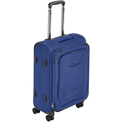 Amazon Basics - Maleta con ruedas de calidad superior, expandible, con lados blandos y cierre con candado TSA, 58.9 cm, Azul