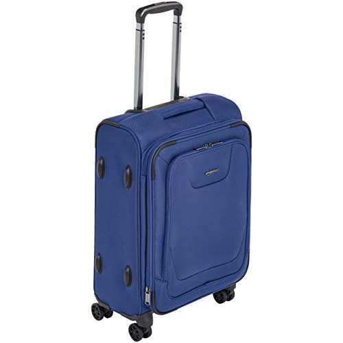AmazonBasics Expandable Softside Carry-On Spinner Luggage Suitcase With TSA Lock And Wheels - 23 Inch, Blue