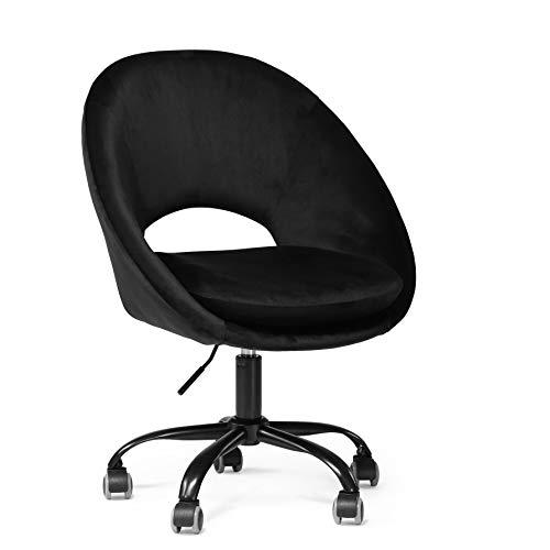HIC High in the clouds Bürostuhl Rollen Schwarz Drehstuhl Verstellbar Hydraulische Schminktisch Stuhl mit Rücken Drehhocker mit Rollen Schreibtischstuhl Schwarz B62.5*D58*H82cm
