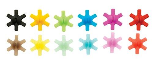 Mastrad F01039 - Lotto di 12 segna bicchieri, in silicone/polipropilene, multicolore, 12 Unità