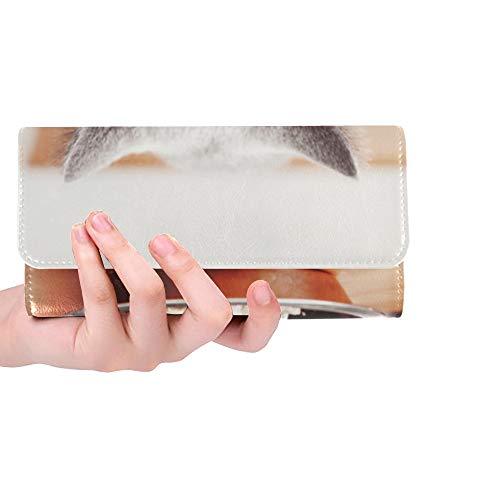RFID Blocking Geldbörse Brieftaschen Bifold Lange Hauskatze Essen Futter in Schüssel Herren Brieftasche für Frauen Trifold Leder Damen Passport Brieftasche Kreditkarteninhaber Fall Handtasche