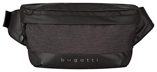 Bugatti Universum Gürteltasche Bauchtasche, Damen und Herren Hüfttasche für Reise, Alltag und Sport, Schwarz