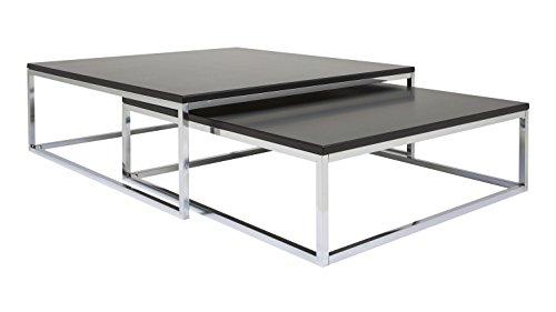 Möbel Akut Couchtisch Molly 2er Set schwarz lackiert Metallgestell Wohnzimmertische