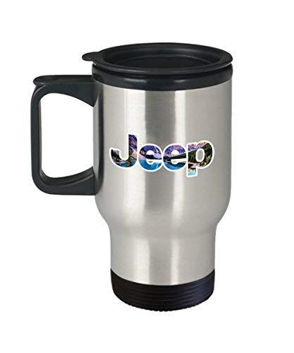 Maureen52Dorothy Jeep Logo Kaffeetasse (Reise) 400 ml Jeep Merchandise Vinyl-Aufkleber Innenausstattung Zubehör Geburtstagsgeschenke Ideen Aufkleber Hemd Party Artikel Liber