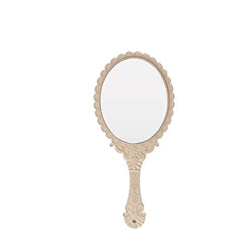 Main miroir à motif Vintage Design Miroir de maquillage en forme ovale Miroir de maquillage portable Poignée de maquillage de beauté Miroir de maquillage Accessoire pour Homme Femme 1pc Beige