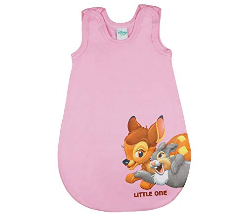 Disney - Bambi Baby- und Kinder- Sommer-Schlafsack ÄRMELLOS aus Baumwolle, UNGEFÜTTERT, mit Bambi und Klopfer, GRÖSSE 56-62, 68-74, 80-86, mit Druck-Knöpfen und Bein-Freiheit Farbe Rosa, Größe 80/86