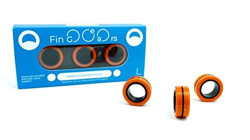 FinGears Original - Anelli magnetici antistress per bambini, giocattoli da decompressione, colore nero, taglia L