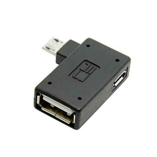 CY Micro USB 2.0 OTG Host Adapter 90 Grad Links abgewinkelt mit USB Power für Galaxy S3 S4 S5 Note2 Note3 Handy & Tablet