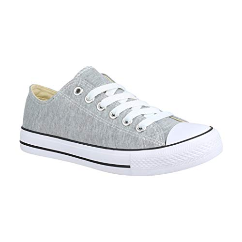 Elara Unisex Sneaker Turnschuh Low Top Textil Schuhe Chunkyrayan CHF Lt.Grey-38