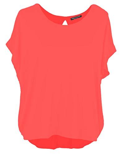 Emma & Giovanni Damen Basic Sommer T-Shirt/Oberteile Kurzarm, Orange, Gr.- DE 42-44 (Herstelleretikett XL)