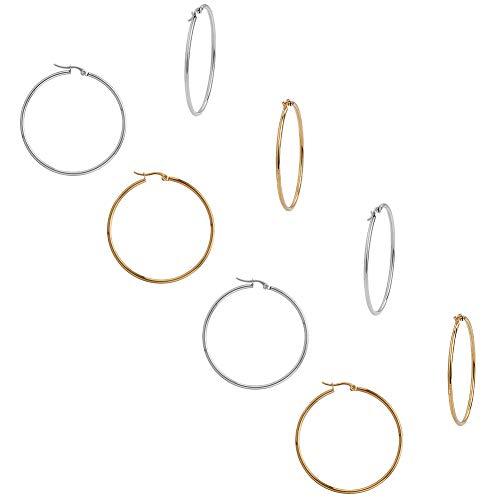 UNICRAFTALE - Pendientes de Aro Hipoalergénicos, 12 par de Pendientes de Aro Grandes de Acero Inoxidable de 49.5 mm, Pasadores de 1 mm, Color Dorado Y Acero Inoxidable