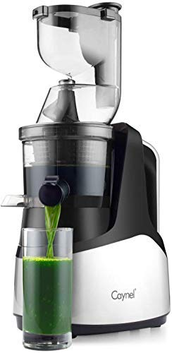 "Caynel Slow Masticating Juicer Cold Press Extractor with 3"" Wide Chute for Fruits, Vegetables and Herbs, Quiet Durable Motor with Reverse Function, Easy Cleaning High Yield Vertical Juicer, Tritan Material Non-toxic, BPA Free (silver)"