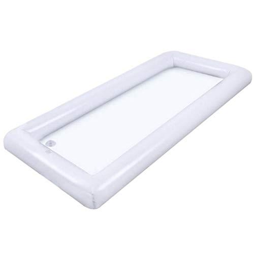 Table de billard gonflable 135 x 65 cm en PVC respectueux de l'environnement qui garde vos salades boissons et aliments à la piscine, pique-nique au frais., blanc