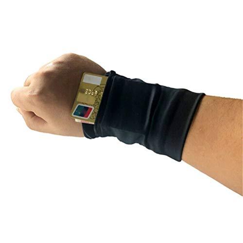 W Weiluogao Sport Handgelenk Tasche Tasche Running Gym Tasche Brieftasche, Knöchel Brieftasche, Schweißbänder, Armband, versteckte Tasche für Telefonkarten Cash Headset (Schwarz)